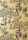 Anna French Willow Wood Wallpaper in Metallic Gold